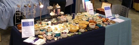 Crystals set out at holistic fair in Surrey