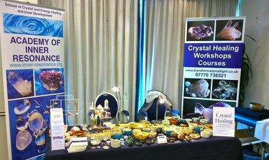 Stand at fair giving info on crystal healing and Diploma Course in Surrey